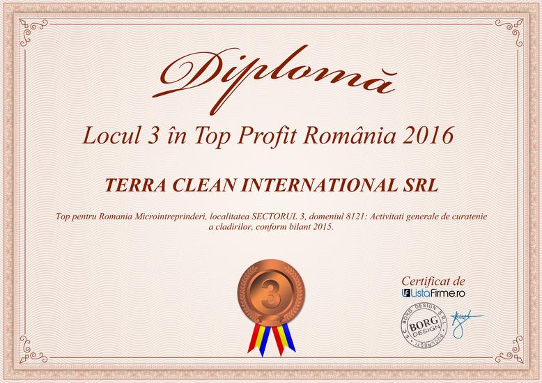 Diploma Locul 3 in Top Profit Romania 2016 - Terra Clean
